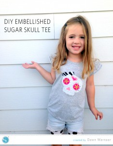 DIY Embellished Sugar Skull Tee | Dawn Warnaar for Silhouette