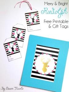 Merry & Bright Rudolph Print & Gift Tags | bydawnnicole.com
