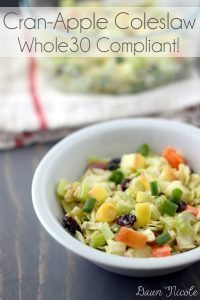 This Cran-Apple Coleslaw has a ton of beautiful colors thanks to all the fruit and veggies. It is delicious as a side to oven-baked Salt & Vinegar chicken wings for dinner or add some grilled chicken for a simple make-ahead weekday lunch. And it's Whole30 friendly too! bydawnnicole.com