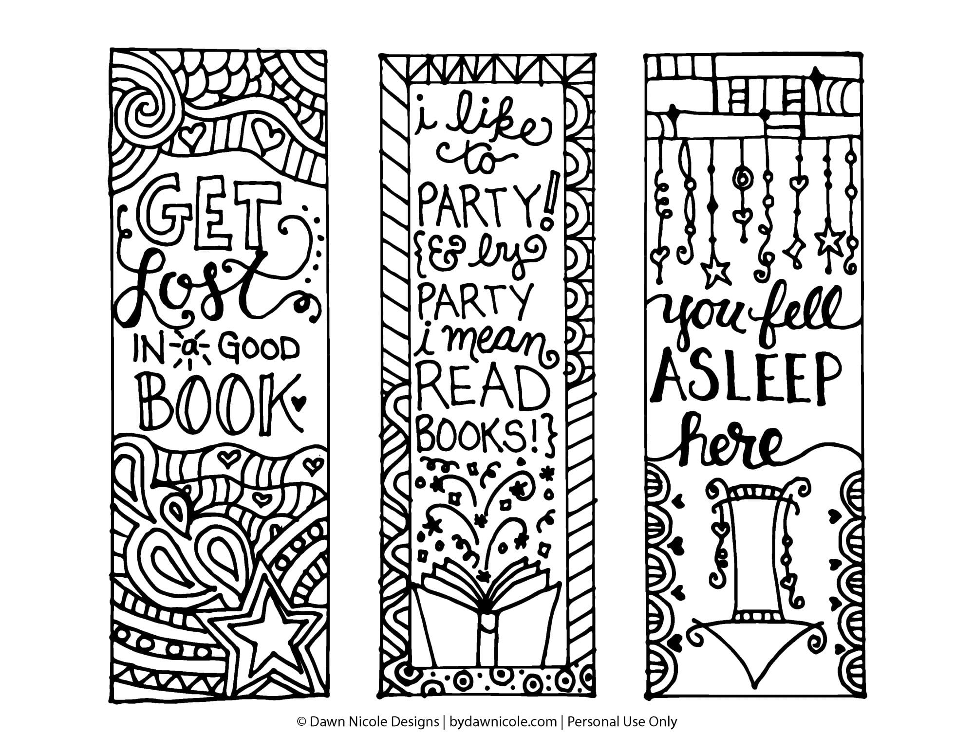 bookmark coloring pages Free Printable Coloring Page Bookmarks | Dawn Nicole Designs® bookmark coloring pages