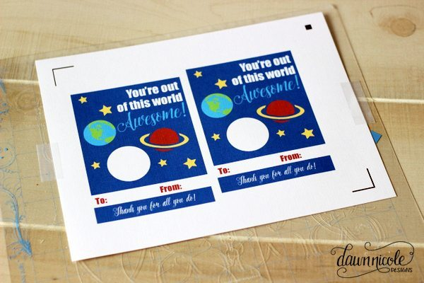 Teacher Gift Idea: You're out of this world awesome EOS Lip Balm Card Printable + Silhouette Cut File | dawnnicoledesigns.com
