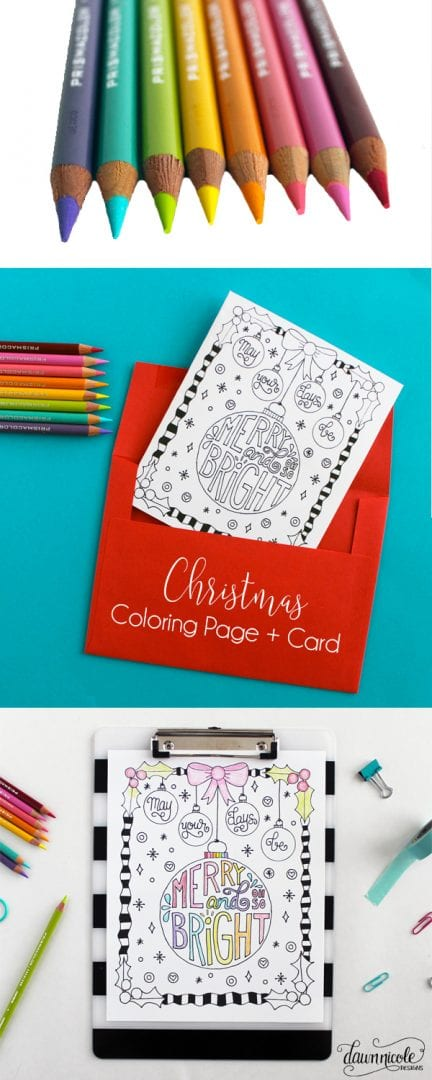 Free Merry & Bright Christmas Coloring Page + Card | dawnnicoledesigns.com