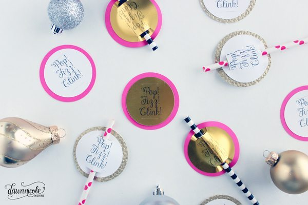 Pop! Fizz! Clink! DIY Straw Toppers + Free Cut File |dawnnicoledesigns.com
