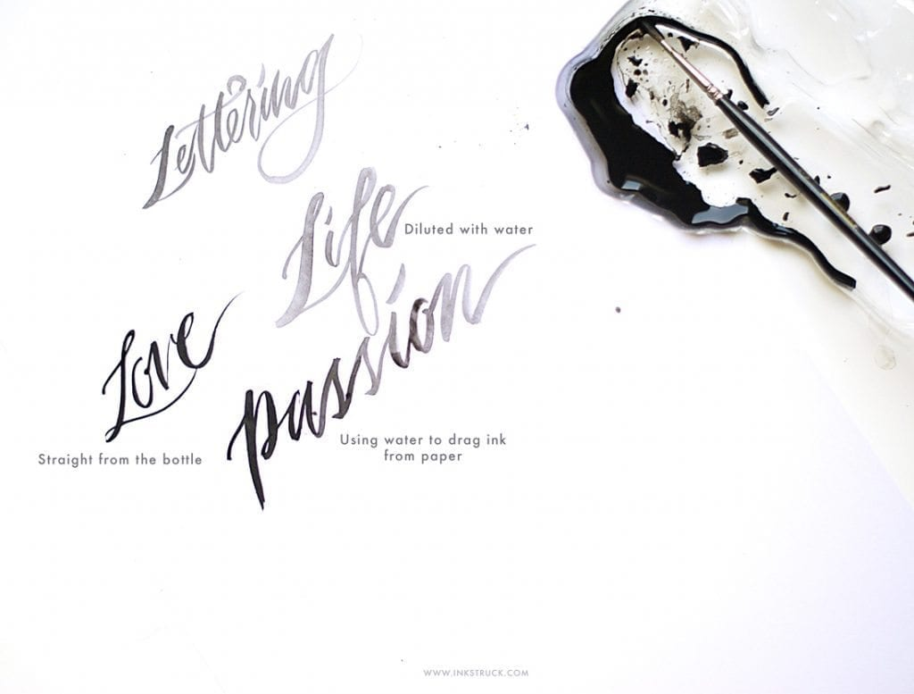 sumi ink lettering