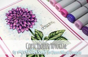 Dahlia Flower Copic Coloring Tutorial