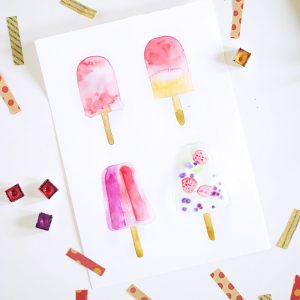 DIY watercolor popsicle art – 4 different ways