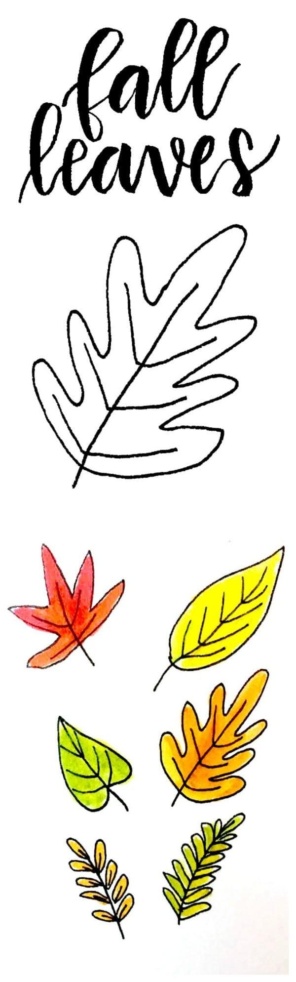 Hand Drawn Fall Leaves