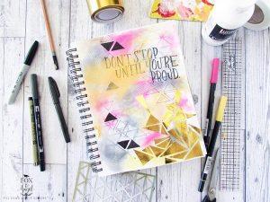 Bright Geometric Art Journal Page Tutorial