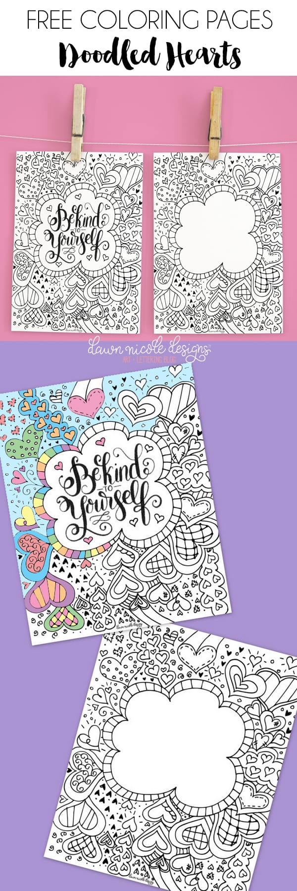 doodled hearts free coloring pages dawn nicole designs