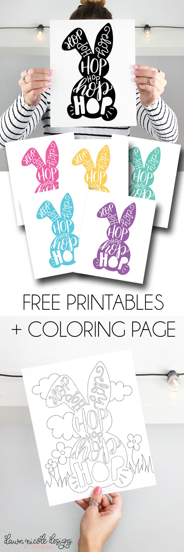 typographic easter bunny free printables coloring page dawn
