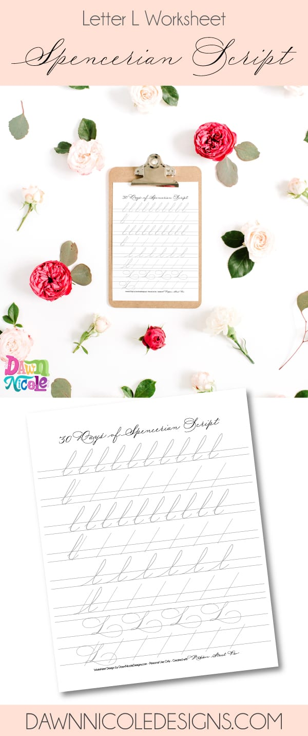 Spencerian Script Style: Letter L Worksheets. This post is part of the 30 Days of Spencerian Script Style Worksheets series. I'm posting a new free Spencerian Style Practice Worksheet every day for thirty days!