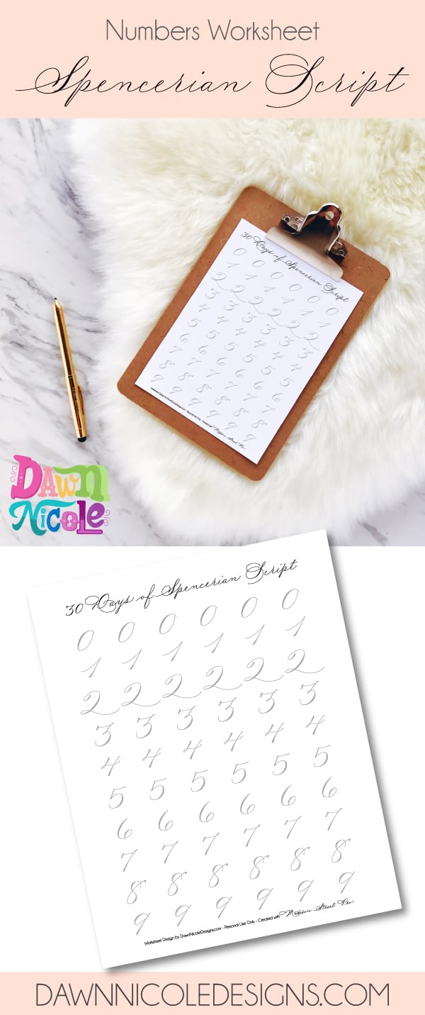Worksheets Spencerian Penmanship Worksheets spencerian script style number worksheets dawn nicole this post is part of the 30 days of