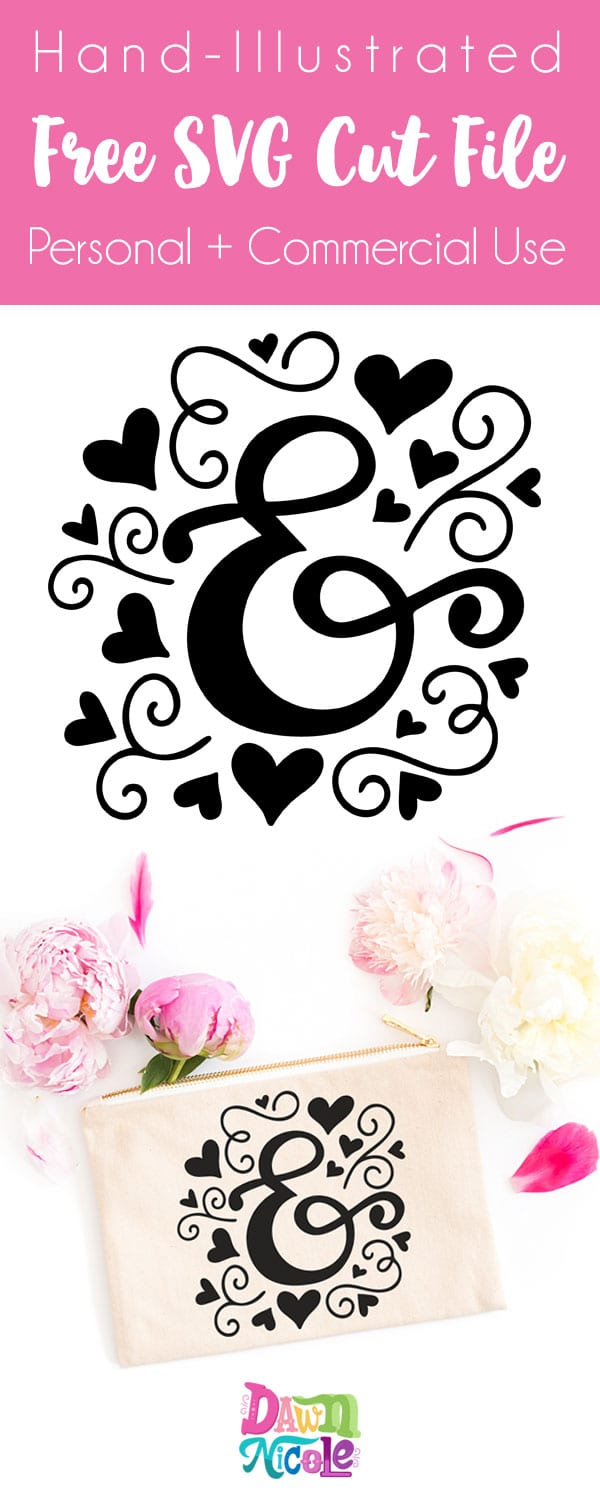 Ampersand Love Free SVG Cut File. This hand-illustrated Ampersand cut file is free for both personal and commercial use!