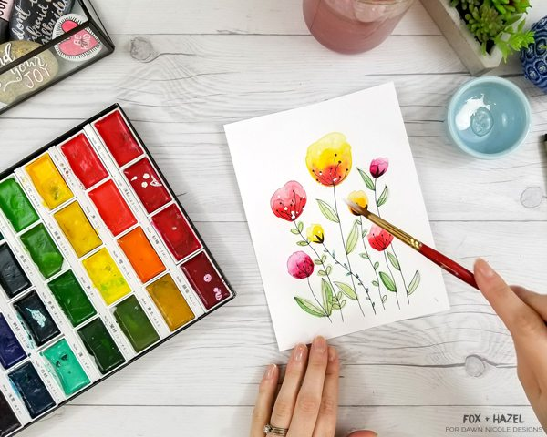 How to Paint Easy Watercolor Flowers Tutorial - Fox + Hazel for Dawn Nicole Designs 25