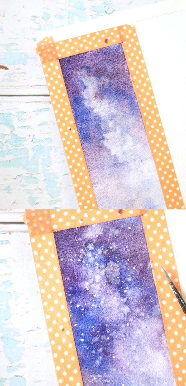 Isn't this watercolor galaxy bookmark stunning? Learn to create it from this watercolor galaxy tutorial along with pretty pine trees - Inkstruck Studio for Dawn Nicole Designs