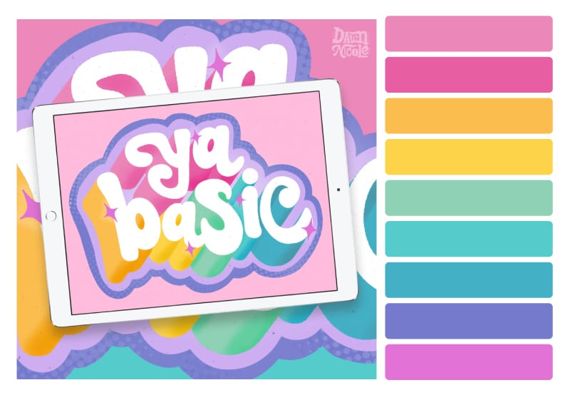 Rainbow Falls Color Palette + Lettering Inspiration. Grab the free color palette, check out the lettering pieces I created and make some of your own!