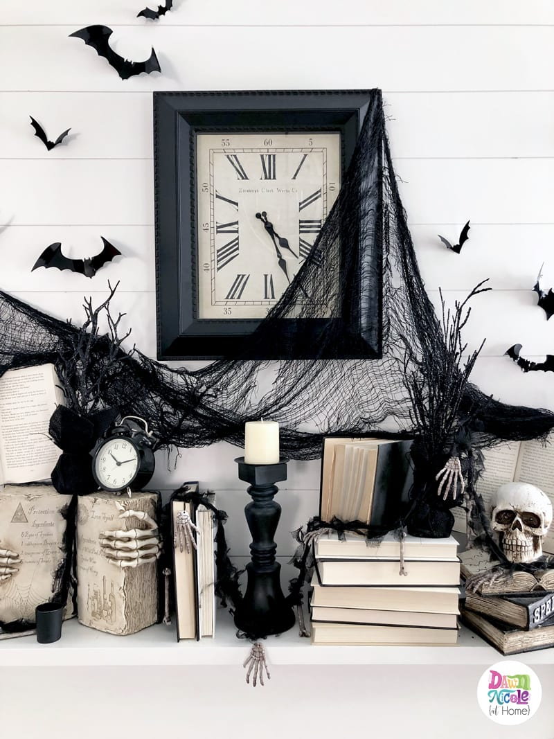 A simple and spooky mantel inspired by my love of books, creatures of the night, and Halloween.