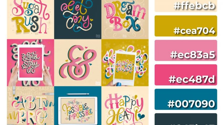 Happy Heart Color Palette + Lettering Inspiration. Grab the free color palette, check out the lettering pieces I created and make some of your own!