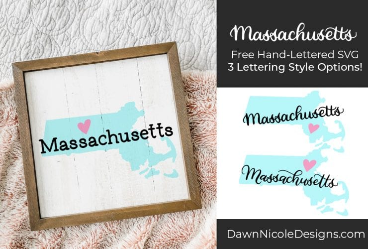 Hand-Lettered Massachusetts SVG Cut File. Grab this free hand-lettered and illustrated state art SVG in three lettering style options!