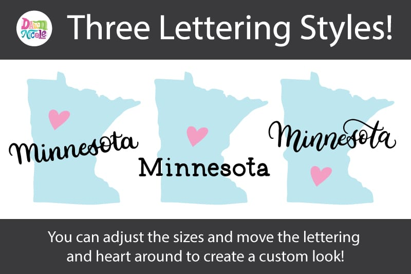 Hand-Lettered Minnesota SVG Cut File. Grab this free hand-lettered and illustrated state art SVG in three lettering style options!